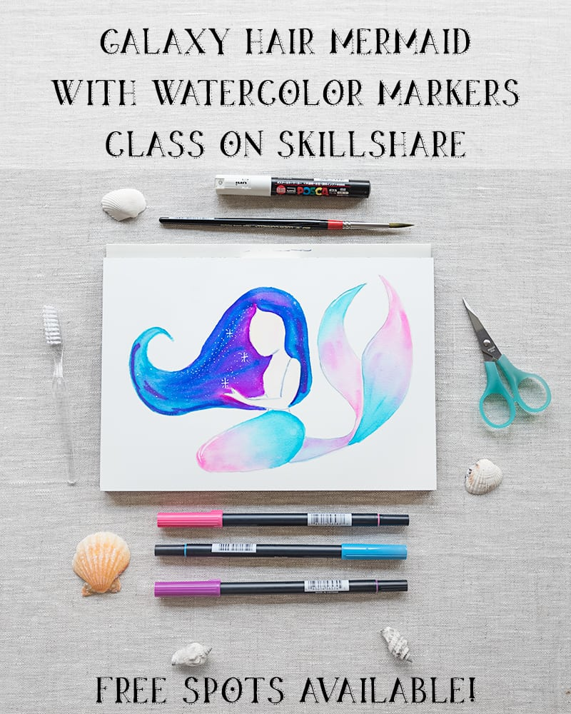 galaxy hair mermaid painting class on Skillshare - free spots available!