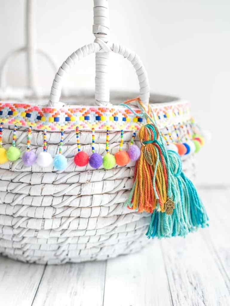 DIY boho market tote with tassels