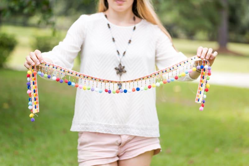trim with beads and pompoms for DIY boho market basket