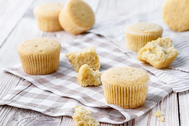 healthy vanilla cupcakes made with greek yogurt