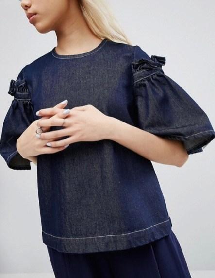 Tendenza moda 2017 ruches e volants camicia denim asos