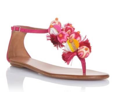 accessori etnici Aquazzura-Flats-&-thongs-Tropicana-sandal-flat-Paradise-pink-Suede-Front