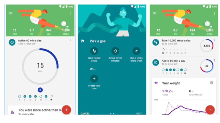 Приложение для поддержания здоровья, Google Fit