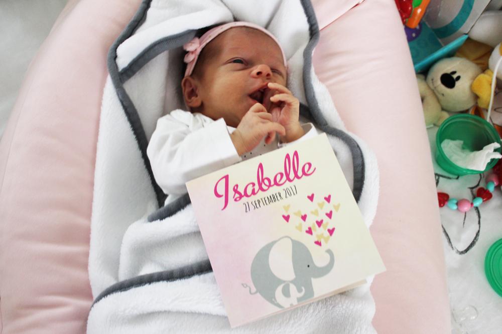 Het geboortekaartje van Isabelle