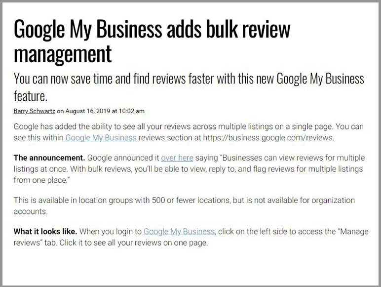 Google My Business adds bulk reviews for multiple listings