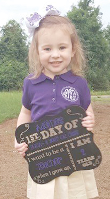 Three year old Adeline Grace McLarty is another one that is all smiles and is ready for her first year at school. Adeline attends Belmont Union Christian Academy and her parents are Emily and Jason McLarty. Grandparents are Steven and Laura Strahan of Marthaville and Bill and Bea McLarty of Winnfield