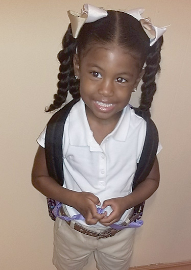 Amari Owens, 3, on her first day headed to MLK Headstart. Her mother is Kiwana Owens and her teacher is Mrs. Cain.