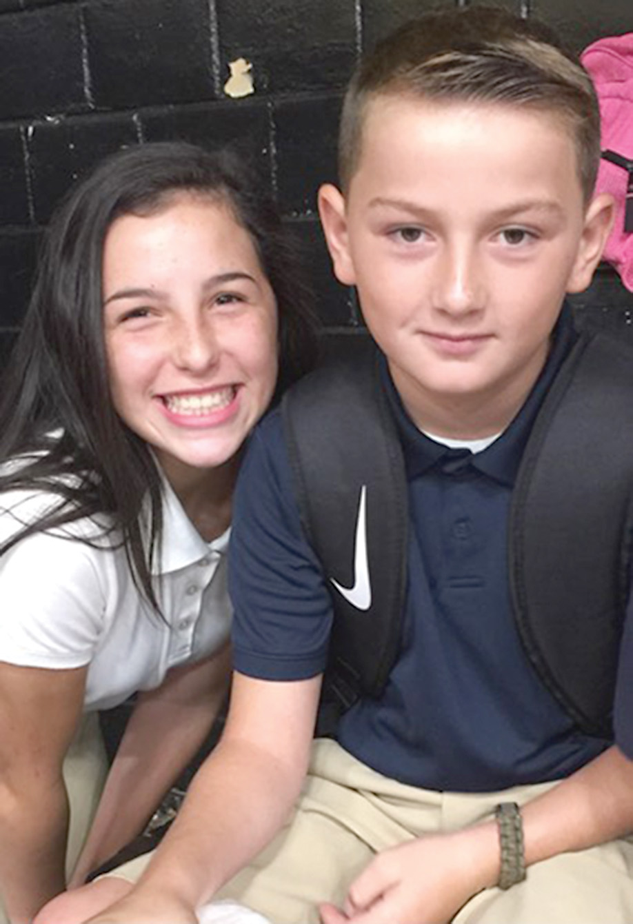 Tinley Durr and Benji Kilgore are all smiles as they enter their first year in the eighth and fifth grades at Marthaville. Parents are Brandon and Dana Durr and Benny and Jodi Kilgore.
