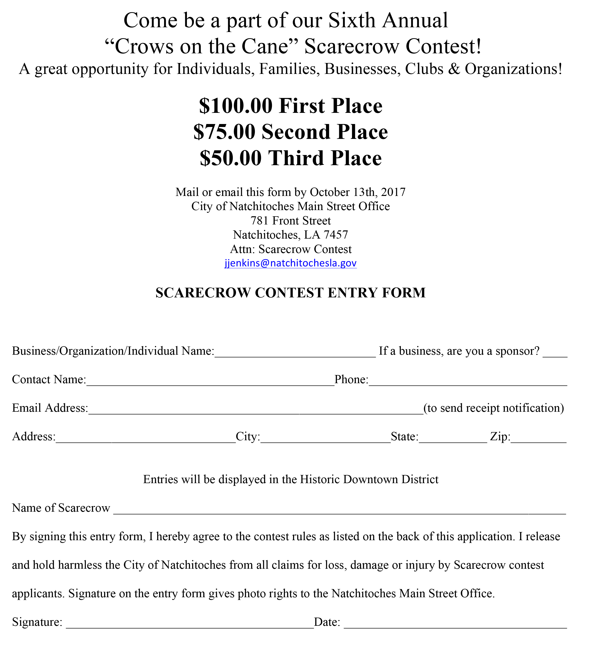 Microsoft Word – 2017 SCARECROW CONTEST ENTRY FORM.doc ...