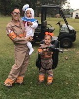 Riley, Hayden and Chelsea Freeman were the Ghostbusters and the marshmallow ghost for Halloween.