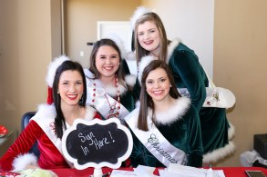Miss Merry Christmas Makenzie Methvin and Belles Makenzie Morgan, Erica Hubbs and Katelynn Yopp.