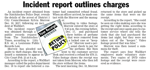 Incident report outlines charges