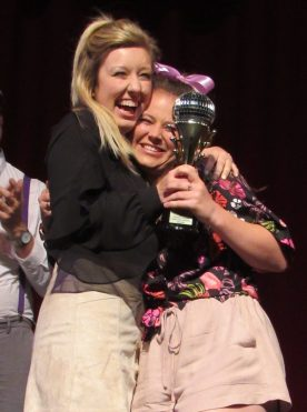 Myranda Degraw, left, who won the Miss Congeniality Award last year, passed on the title to Madeline Mason.