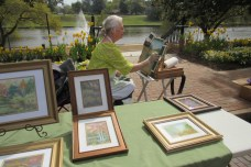 Several vendors lined up and down Front Street for Art Along the Bricks/Bloomin' on the Bricks. Natchitoches Art Guild member Betty Yoist painted live with pastels at her booth.
