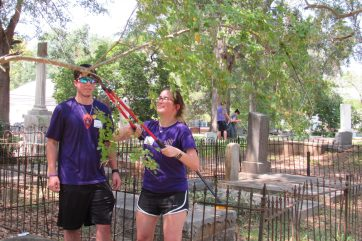 """Ryan Gremillion - """"I did volunteer service in high school and just decided to continue doing it."""" Lauren Briscoe - """"It feels great to clean and give back."""""""