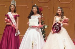 From left are Seventh Grade Christmas Angel Taylor Eubanks, First Runner Up Alyssa Robertson and Second Runner Up and Photogenic Winner Luci Carr.