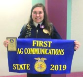 Lakeview FFA member Salem Johnson placed 1st in her SAE proficiency award area of Ag. Communications.