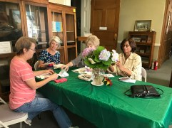 It's easy for volunteers to find friends during their time working at the library! From left are volunteers Judy Kavanagh, Jeanette Gregory and Billie Gibson enjoying lunch together.
