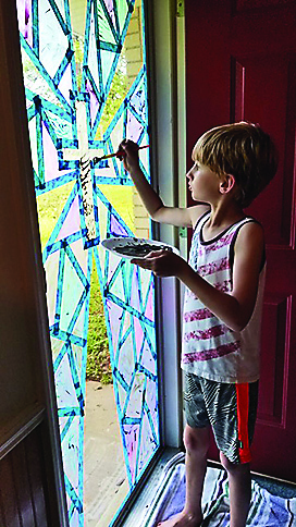 Noah Bryant painted his Great Grandma Lillie Johnson's front door for Easter 2020