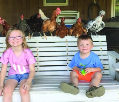 Jake and Ava Martin and their flock