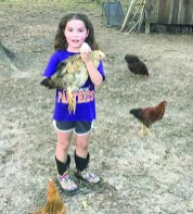 Lily Ivy with Goldie and her first egg