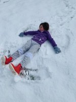 Ainsley Jordan and her snow angel.