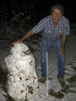 Jackie Birdwell of Ajax, with his (ugly) snowman.