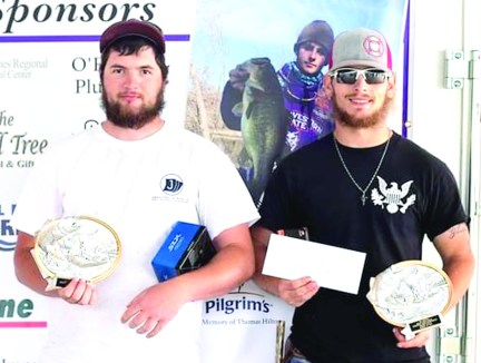 Third place was Dylan Slaughter and James Williamson with five fish weighing 25.19 pounds.
