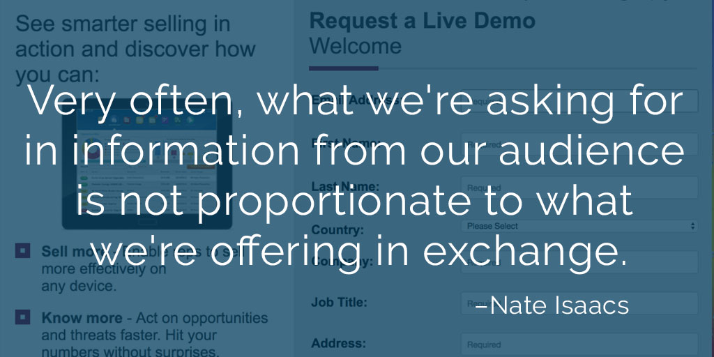 Image quote about the importance of asking for only what you need in your gated forms