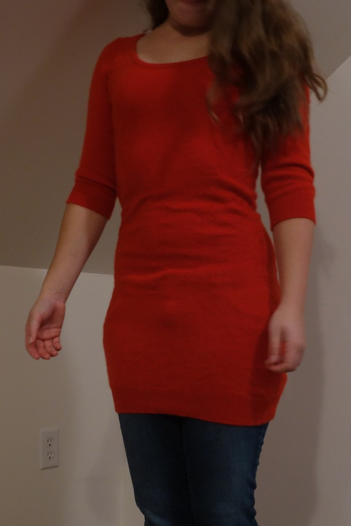 This sweater was made early one morning when I was getting frustated with another project I was working on. So I decicded to drop the project for time being. However, I had fixated on the idea I was going finish something today. I started digging thought myrefashion pile and found this wonder red sweater dress. I didn't need a sweater dress so I turned it into a fuzzy sweater. To here all the details, click though.