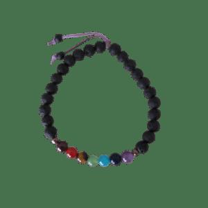 Kaya Confidence Charm Wood Bracelet with Lava Beads