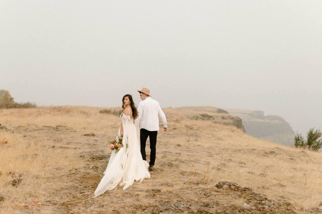 Couple walks through the gorge