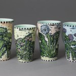 mugs (weeds: nettle, purselane, dandelion, thistle)