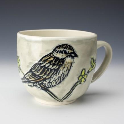 Mug: Sparrow, Forsythia