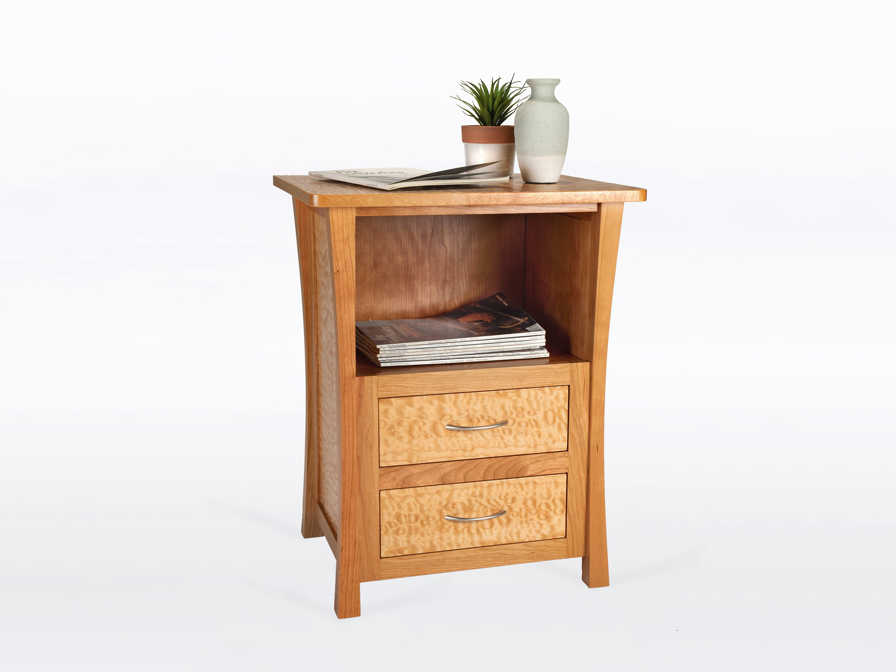 River Rushes Nightstand In Cherry And Curly Maple