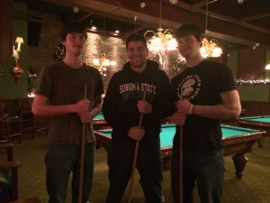 My best friends got into town last night, and we went with their sister and her husband to play billiards at this awesome place that's a few blocks from my apartment.
