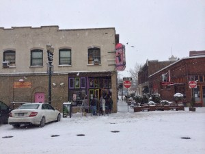 Despite the snow, there was still a mini line outside of Voodoo Donuts.