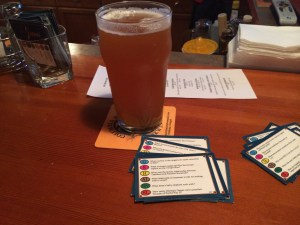 """I went inside, sat down and asked the bartender what he recommends. """"Depends on what you like."""" I don't really like hearing this, maybe I like lots of things and want to know what you think the best thing you make is. *sigh* I ordered an IPA and settled in with these very old Trivial Pursuit cards. When my answer rate went below 40%, I decided to call it quits on the cards, and watched whatever World Cup game was on the screen. Had a nice chat with some folks sitting and drinking nearby."""