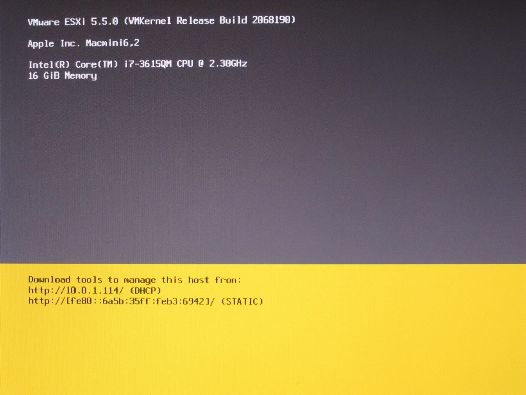 Install VMWare ESXi Hypervisor 5.5 Update 2/6.0 on Late 2012 Mac Mini 6,2 MD388LL/A