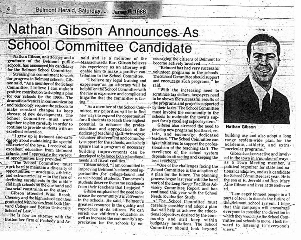 Nathan Gibson for School Committee, 1986 campaign announcement