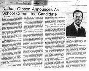 Nathan S Gibson Announces as School Committee Candidate January 18 1986