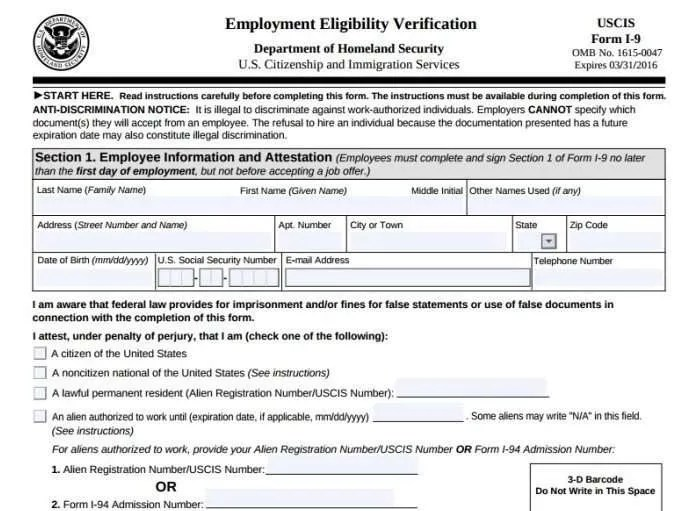 Form I-9 - Employee or Independent Contractor?