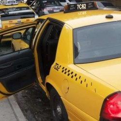 taxi with open back door