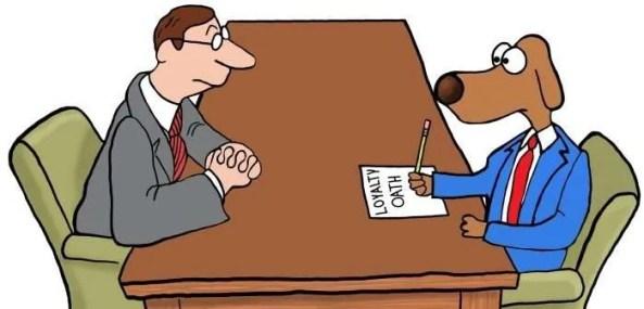 Dog taking a loyalty oath