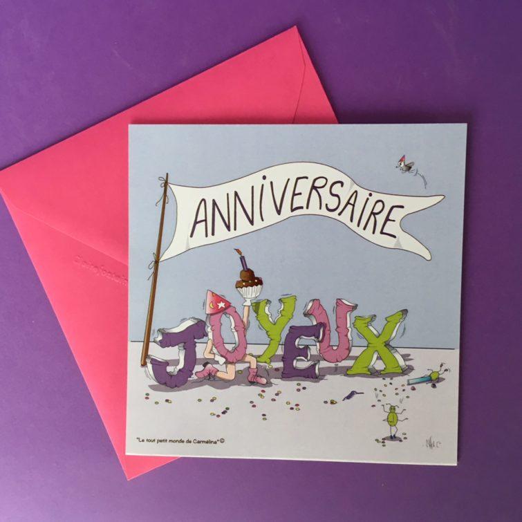 Carte Enveloppe Format Carre Banderole Joyeux Anniversaire