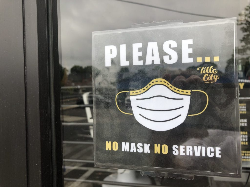 title city mask covid sign