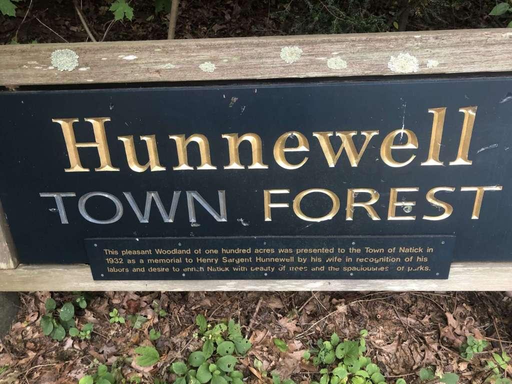 hunnewell town forest sign oak st