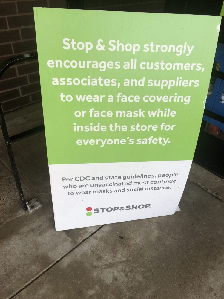 stop n shop sign covid mask