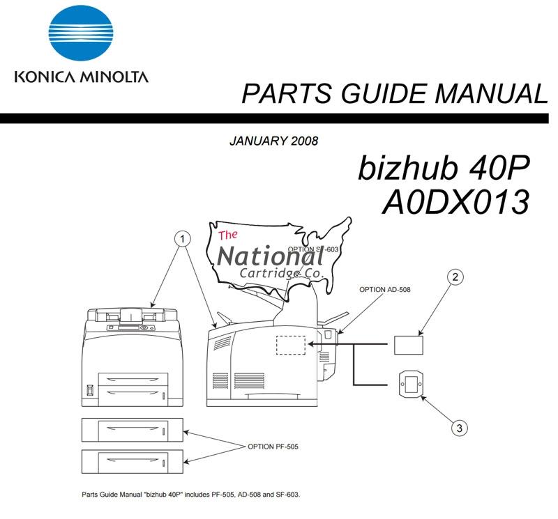 Konica Minolta Bizhub 40P Parts Manual (PDF)
