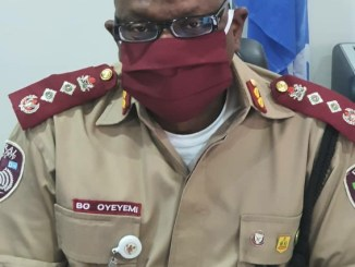 Corps Marshal Oyeyemi wearing a face mask against COVID-19